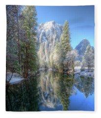 Cathedral Rocks From El Capitan Bridge Winter Yosemite National Park Fleece Blanket
