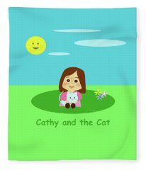 Cathy And The Cat And A Sunny Day Fleece Blanket