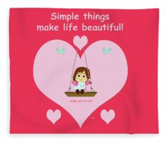 Cathy And The Cat And Simple Things Fleece Blanket