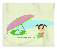 Cathy And The Cat At The Beach Fleece Blanket