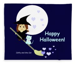 Cathy And The Cat Enjoy Halloween Fleece Blanket