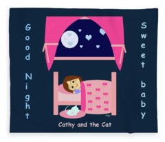 Cathy And The Cat Good Night Fleece Blanket