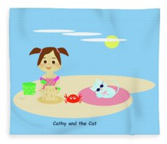 Cathy And The Cat Have A New Friend Fleece Blanket