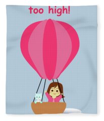 Cathy And The Cat - Hot Air Balloon Text Fleece Blanket