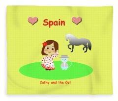 Cathy And The Cat In Spain Fleece Blanket