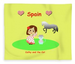 Cathy And The Cat In Spain Fleece Blanket