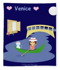 Cathy And The Cat In Venice Fleece Blanket