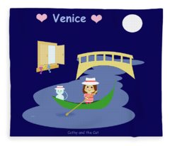 Cathy And The Cat In Venice Fleece Blanket
