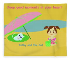 Cathy And The Cat Keep Good Moments Fleece Blanket