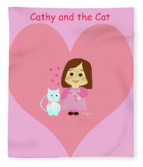 Cathy And The Cat Pink Heart Fleece Blanket