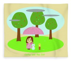 Cathy And The Cat Rainy Day Fleece Blanket
