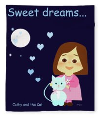 Cathy And The Cat Sweet Dreams Fleece Blanket