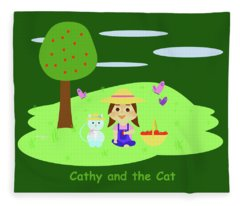 Cathy And The Cat With Apples Fleece Blanket