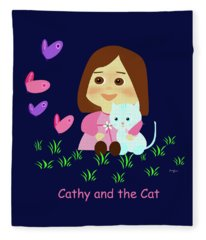 Cathy And The Cat With Butterflies  Fleece Blanket