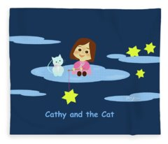 Cathy And The Cat With Stars Fleece Blanket