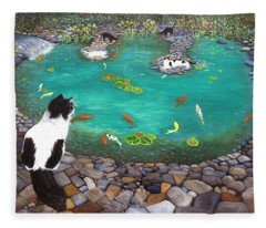 Cats And Koi Fleece Blanket