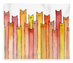 Cats Autumn Colors Fleece Blanket