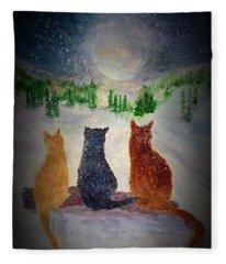 Cats On A Snowy Night Fleece Blanket