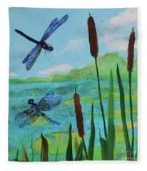 Cattails And Dragonflies Fleece Blanket