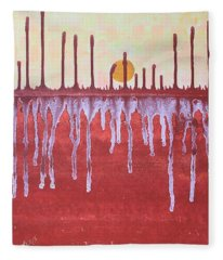 Cattails Original Painting Sold Fleece Blanket