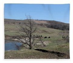 Cattle Along Deep Creek Fleece Blanket