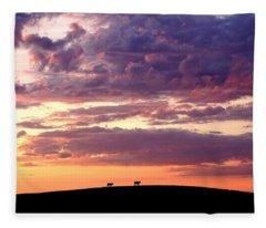 Cattle Ridge Sunset Fleece Blanket