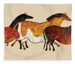Cave Horses In Beige Fleece Blanket