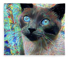 Cecil The Psychedelic Siamese Cat Fleece Blanket