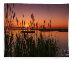 Cedar Beach Sunset In The Reeds Fleece Blanket
