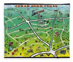 Cedar Park Texas Cartoon Map Fleece Blanket