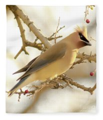 Cedar Waxwing Fleece Blanket