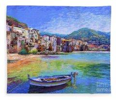 Cefalu Sicily Italy Fleece Blanket
