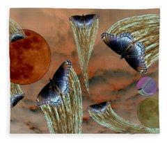Celestial Butterflies Fleece Blanket