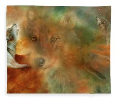 Fleece Blanket featuring the mixed media Celestial Wolves by Carol Cavalaris