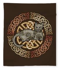 Celtic Cat Fleece Blanket