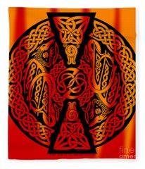 Celtic Dragons Fire Fleece Blanket