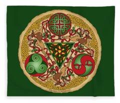 Celtic Reindeer Shield Fleece Blanket