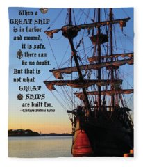 Celtic Tall Ship - El Galeon In Halifax Harbour At Sunrise Fleece Blanket