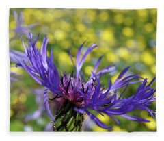 Centaurea Montana Flower Fleece Blanket