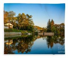 Centerport Harbor Autumn Colors Fleece Blanket