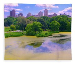 Central Park And Lake, Manhattan Ny Fleece Blanket