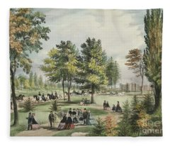Central Park  The Drive, 1862 Fleece Blanket