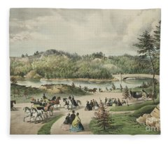 Central Park  The Lake, 1862  Fleece Blanket