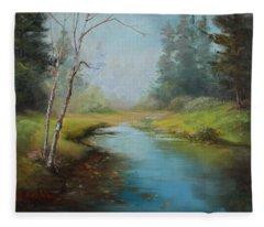 Cerulean Blue Stream Fleece Blanket