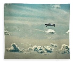 Cessna 140 Departing Delaware Coastal Airport At Georgetown Fleece Blanket