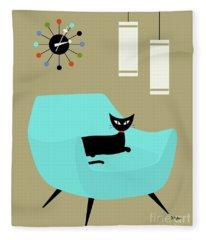 Chair With Ball Clock Fleece Blanket