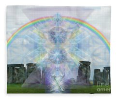Chalice Over Stonehenge In Flower Of Life Fleece Blanket