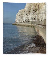 Chalk Cliffs At Peacehaven East Sussex England Uk Fleece Blanket