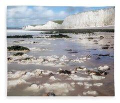 Chalk Cliffs Seven Sisters - England Fleece Blanket