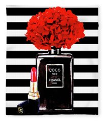 Chanel Poster Chanel Print Chanel Perfume Print Chanel With Red Hydragenia 3 Fleece Blanket